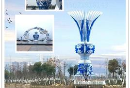 福建城市规划景观 不锈钢青花瓷瓶雕塑 彩绘云朵定制
